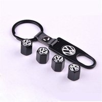 Wholesale Alloy Car Wheel hub Airtight Tire Stem Air Valve Cap Fit for vw wheel center caps volksw Air Dust Covers Tool Wrench Keychain