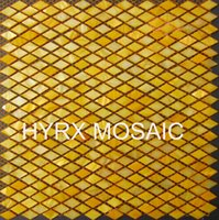 Wholesale New style HYRX mother of pearl shell mosaic tiles dyed light Yellow color Small diamond Factory direct sale decoration Material