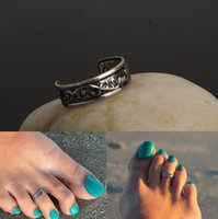 Wholesale Summer Women Beach Rings Jewelry Vintage Alloy Knuckle Rings Fashion Antique Silver Plated Carved Directional Pattern Toe Rings SR390