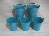 Wholesale blue color metal Planter pure garden bucket hanging busket Iron pots flower pots home decor plant size CM