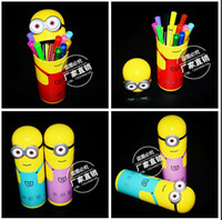 Wholesale LJJD3841 Despicable Me Water Color Pen Cartoon Minions stationery Minions Figures Pen for paiting with good package Best gift for kids