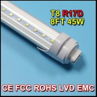 Cheap T8 led tube light R17D 8ft 45W 2.4m 2400mm Fluorescent Lamp Rotating smd2835 192leds 4800lm AC85-265V single pin clear frosted cover