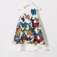 european fashion dress - 2015 Girls European Style Colorful Butterfly Printed Sleeveless Dress Childrens Summer Princess Dress Fashion Elegant Sundress