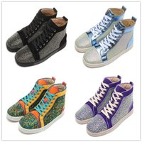 authentic shoes - Fashion colors authentic CL lovers hight cut rhinestone casual shoes for women and men eur size