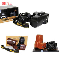 Wholesale PU Leather Oil Skin Camera Case Bag Cover for Nikon D3300 D3200 D3100 DRSL Camera With mm Lens Without Strap