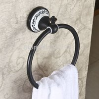 Wholesale And Retail Oil Rubbed Bronze home hotel Bathroom Towel Ring Wall Mounted Solid Brass Bath Towel Rack