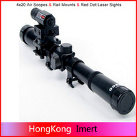 Wholesale 4x20 Air Gun Rifle Optics Scope Caza Tactical Riflescope mm Rail Mounts Red Dot Laser Sight For Hunting Airsoft Supplies