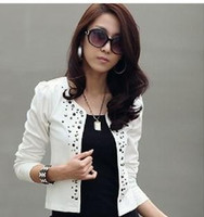 auger s - 2015 new womens Casual blazers Spring female Fashion style Rivets ladies round neck long sleeve set auger coats jackets