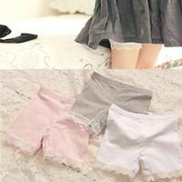 Leggings & Tights cotton leggings - Korean Girls Summer Leggings Pure Cotton Splicing Lace Short Leggings Tights Pretty Children Shorts White Pink Grey Size For T