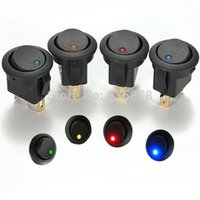 Wholesale Red Green Blue Yellow V LED Dot Light Car Boat Round Rocker ON OFF SPST Switch