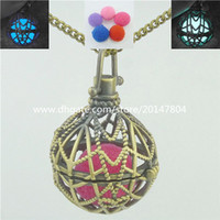 bead web - Glow Bead Web Locket Necklace Cage Perfume Aromatherapy Essential Oil Diffuser