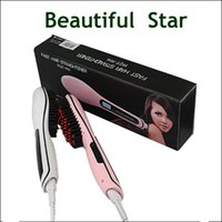 Wholesale HQT Fast Hair Straightener Styling Tool Flat Iron Comb Brush Massage With LCD Digital Temperature Control vs Beautiful Star Dafni