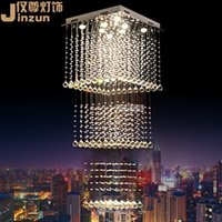 Wholesale Square crystal chandelier lamp living room penthouse villa stairs creative personality triple chandelier modern minimalist restaurant lights