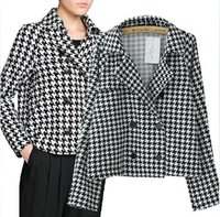 Cheap Fashion 2014 Autumn Double Breasted Houndstooth Tweed Jacket Womens European Famous Brand Fall Plaid Pea