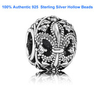 Wholesale 100 Authentic Sterling Silver Fleur de Lis Openwork Loose Beads Fits European Pandora Style Charm Jewelry Bracelets Micangas perles