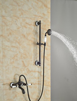 bar shower valves - And Retail Oil Rubbed Bronze Bathroom Tub Faucet Solid Brass Hand Held Shower Sprayer W Slide Bar Mixer Tap Valve