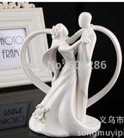 ceramic figurines - 20pcs Dancing Bride and Groom with Heart Figurine Party Table Decoratoin Ceramic Wedding Cake Topper