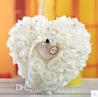 Wholesale Elegant Colorful Crystal Pearl Crystal Organza Satin Lace Bearer Heart shaped ring pillow european style ring pillow bridal wedding ring box