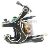 beginner tattoo designs - Freeshipping Classic design CNC fine carved brass tattoo machine Gun MBC01 Shader with copper coils for beginner tattoo kits
