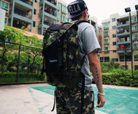 Wholesale 2014 new supremer black green camouflage sports bag unisex backpacks men and women hot sell