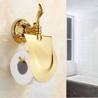 Wholesale 2014 New arrival Bathroom Accessories Solid Brass Titanium Golden Paper Holder Gold Paper Holder Paper Rack Roll Stand ZP