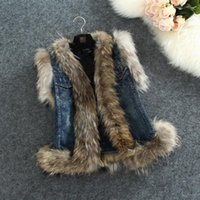 Wholesale Fur Denim Vest Fashion Fox Wool Waistcoat Women Autumn High Quality Stitching Jean Jacket Real Sleeveless Fur Denim Vest S XL