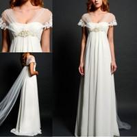 Cheap 2015 Summer New Arrivals Empire Waist Wedding Dresses A Line Chiffon Strapless Crystal Beads Boho Beach Wedding Bridal Gowns