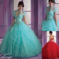 Wholesale Short Sleeve White Debutante Gowns - Vestido Quinceanera Para Debutante Mint Green Dresses Ball Gowns Sweetheart Beaded Crystals Lace Up Back Long Floor Length 2015 Princess