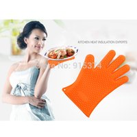 Wholesale 3pcs Kitchen Heat Resistant Silicone Glove Pot Holder Cooking Baking Grill Oven Mitts Freeshipping
