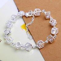Wholesale 2015 New arrival Hot sale best quality Pc Women Sterling Silver Charm Box Crystal Chain Bracelet Bangle L10207