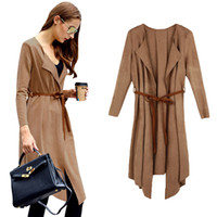 belted camel coat - New Women autumn spring Outerwear Open Front Long Sleeve Shoulder Pad OL Trench Coats Clothes Cardigan with Belt Camel G1511