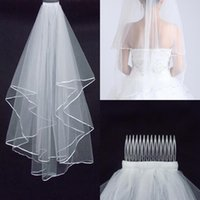 Wholesale 2015 Cheapest Two Layer Wedding Veils Real Garden Veils Shoulder Length With Comb High Quality White Veils for Wedding AN007