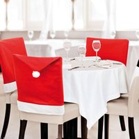 Wholesale 6Pcs New Fashion Santa Clause Red Hat Chair Back Cover Christmas Dinner Table Party Decor For Christmas