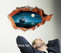 Wholesale Extra Large Sticker D Wall Decals Vinyl Pirate Ship Night Sea Mural Art Removable Fashion Home Decoration cm