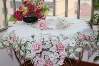 Wholesale 2015 embroidered rose table linens emboridered tablecloths handmade cutout tablecloths CM SQ