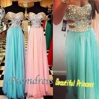 A-Line chocolate diamonds - Sexy Mint green and pink chiffon diamond Prom Dress Vestido De Festa Backless Abendkleider Style Custom Made