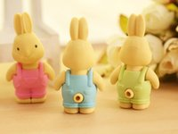 Wholesale 2015 new Erasers Stationery rabbit eraser cartoon style rubber eco friendly school supplies Korea cute
