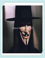 Wholesale 100pcs guy fawkes V vendetta team pink blood scar masquerade masks Halloween carnival Mask adult size order lt no track