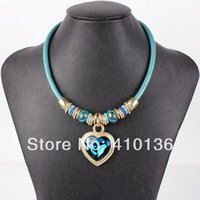 Cheap MN1037 Fashion Leather Necklace Punk Design Heat Pendant High Quality 2014 New 3Colors Party Gifts