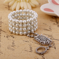 amazing link - 2016 Faux Pearls Hot Elegant Bridal Party Prom Jewelry Amazing Crystal Bracelet Ring Wristband Bracelet Link Chain Bracelet WWL