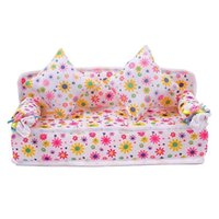 Wholesale New Baby toys Mini Soft Sofa Couch With Cushions For Doll House Furniture Flower pattern Brand