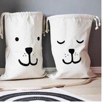 Wholesale Instagram hot Batman Bear Pattern Canvas Storage Bag for Toys Clothes Baby Kids Toys Canvas Storage Bag