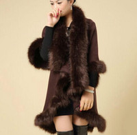 Wholesale Plus Size Knitted Capes Wool Cashmere Shawl Fur Coat Faux Fur Fox New Fashion Winter Women Clothing colete feminino
