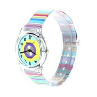 Cheap Wholesale-2015 NEW WILLIS women fashion Blue Watch Dial Colorful Rainbow Plastic Cement Watchband watches Women's and Kid's Wrist