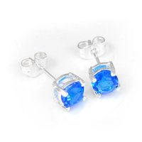 Wholesale Party Jewelry Gift Pairs Round Crystal Blue Topaz Gem sterling Silver Stud Earrings UK American Wedding Earrings