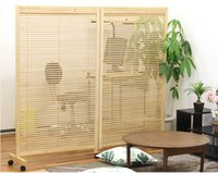 Wholesale Japanese Movable Wood Partition Wall Panel Folding Screen Room Divider Home Decor Oriental Decorative Portable Asian Furniture