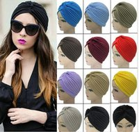 hat factory - 2015 fashion Stretchy Turban Head Wrap Band Sleep Hat Chemo Bandana Hijab Pleated Indian Cap colors factory price top quality