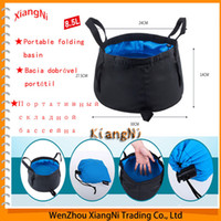 Wholesale 8 L Ultra light Outdoor Nylon Folding Water Washbasin Portable Wash Bag Foot Bath Quick Dry Camping Picnic Fishing Blue Red order lt no tra
