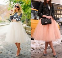 plain clothing - 2015 Knee Length Tulle Tutu Skirts for Adult Custom Puffy High Waist Cheap Party Prom Petticoat Underskirts Women Clothing HH047