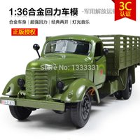 antique toys trucks - Pull Back Acousto optic Toys for kids Alloy Antique Car Model for faw Army Jeep jiefang carrier vehicle